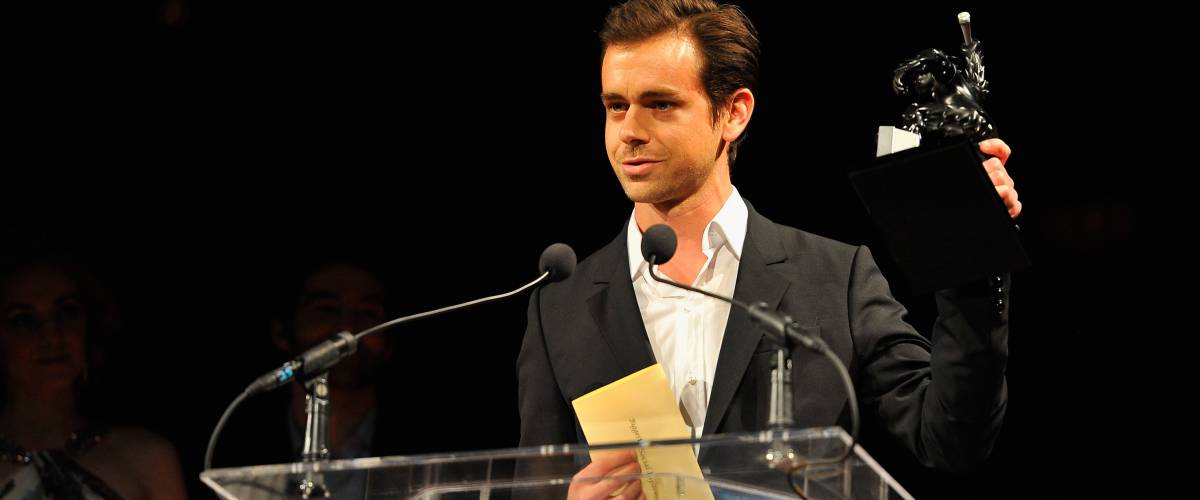 Jack Dorsey accepting an award at the 5th Annual Crunchies Awards, 2012