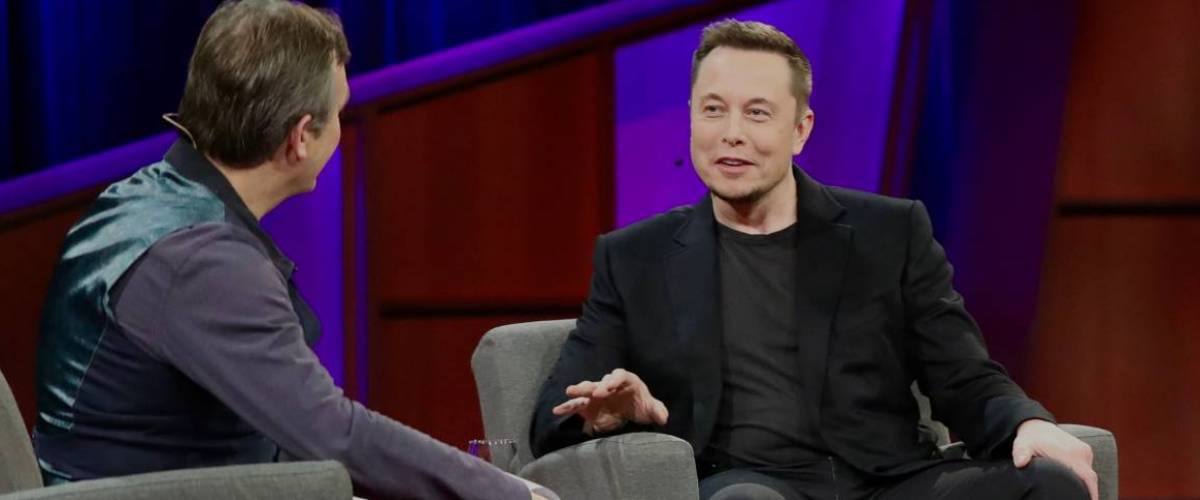Elon Musk gives an interview at TED 2017
