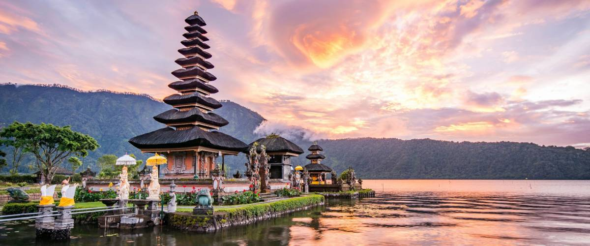 Hindu temple on Bratan Lake, in Bali, Indonesia