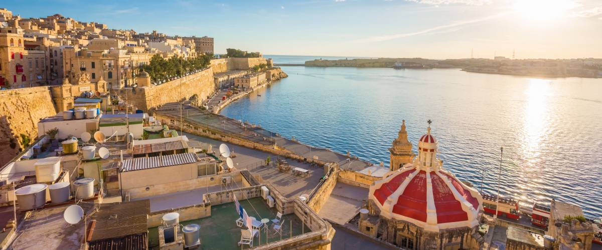 Grand Harbour of Malta with the ancient walls of Valletta