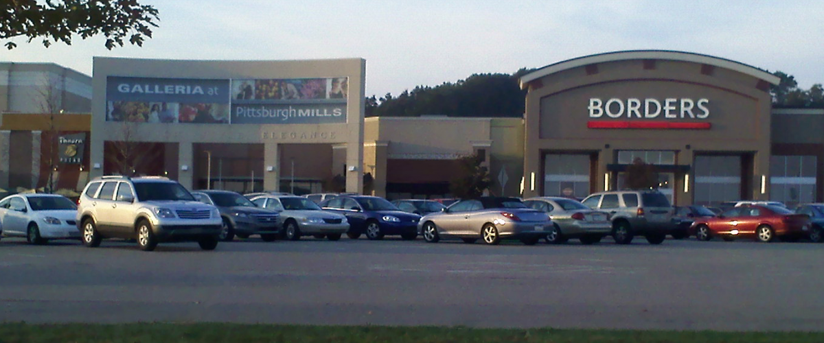 View of Pittsburgh Mills Entry 1 including Borders and Panera Bread. October 2010.