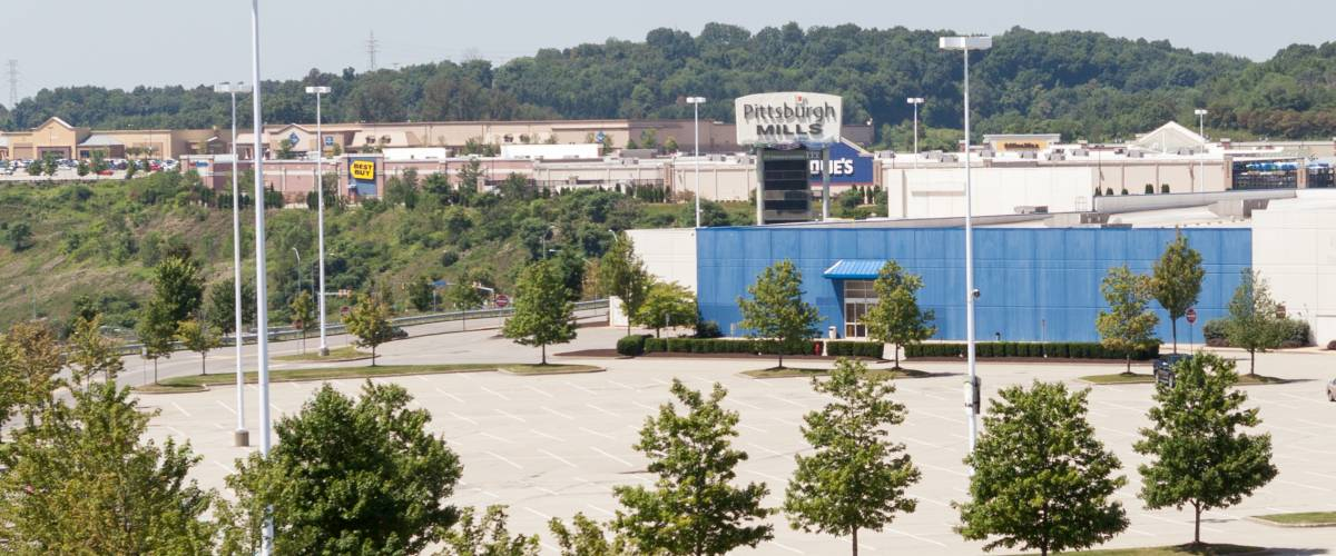 Pittsburgh Mills Mall, Frazer Township, Pennsylvania. Looking southwest from small hill on the northeast side of the facility.