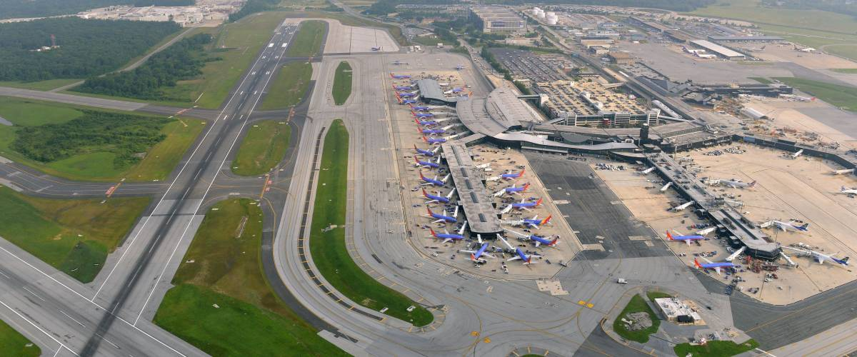 Aerial view of the sprawling Baltimore Washington International Airport