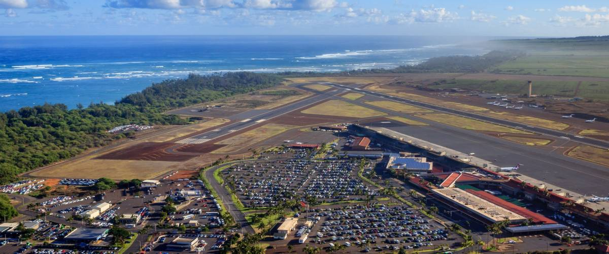 Kahului Airport opens onto a glorious and humid view