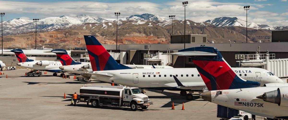 Delta airlines aircrafts at SLC International Airport