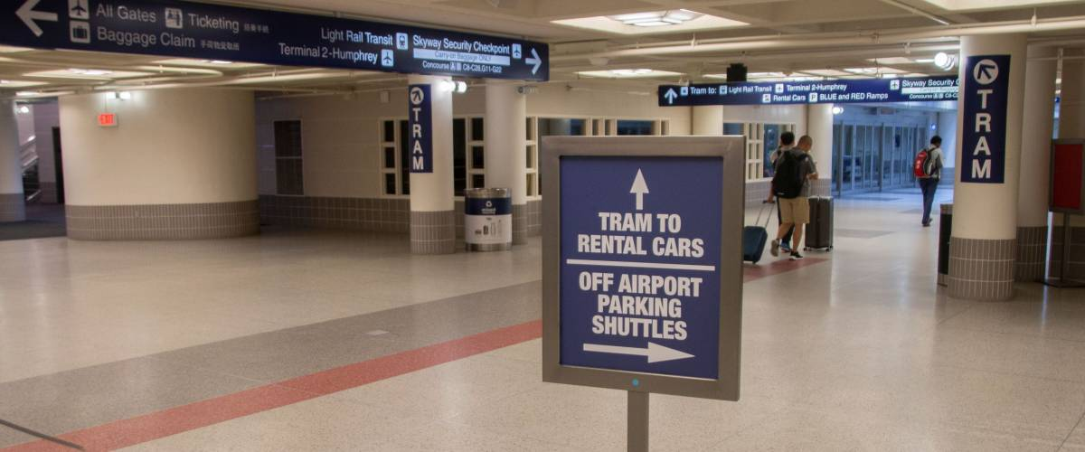 Signs pointing to just some of the transport around this complicated airport