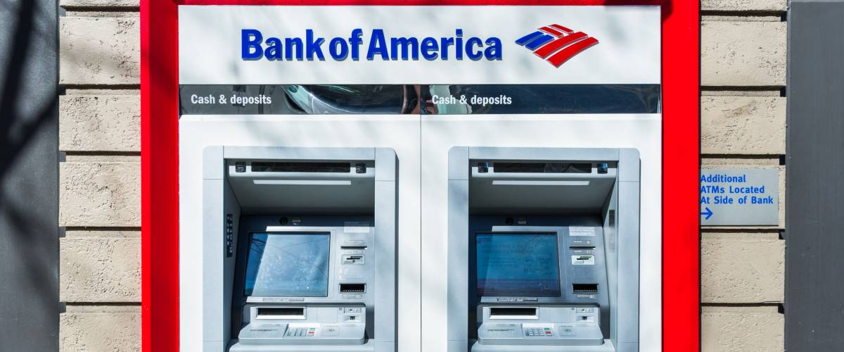 February 21, 2018 San Jose / CA / USA - Bank of America ATM's located at one of the bank's branches, San Francisco bay area