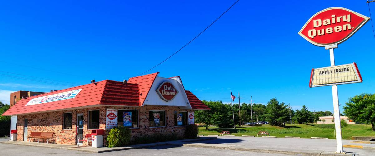 Gettysburg, PA, USA - July 7, 2018: A Dairy Queen restaurant is a chain that serves ice cream, drinks, and fast food sandwiches.