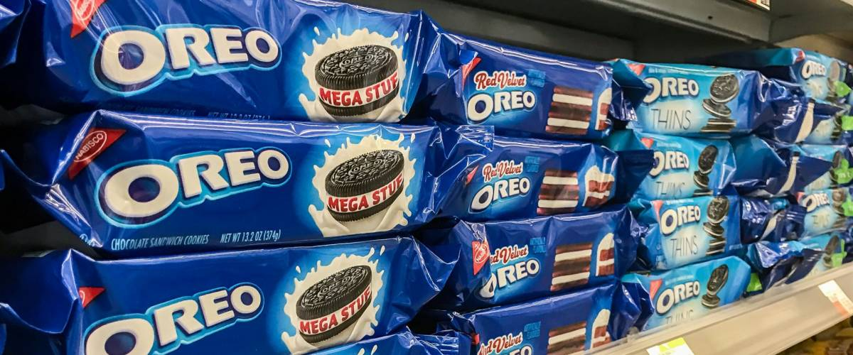 New York, February 2, 2017: Oreo cookies for sale stand on a shelf in a pharmacy.