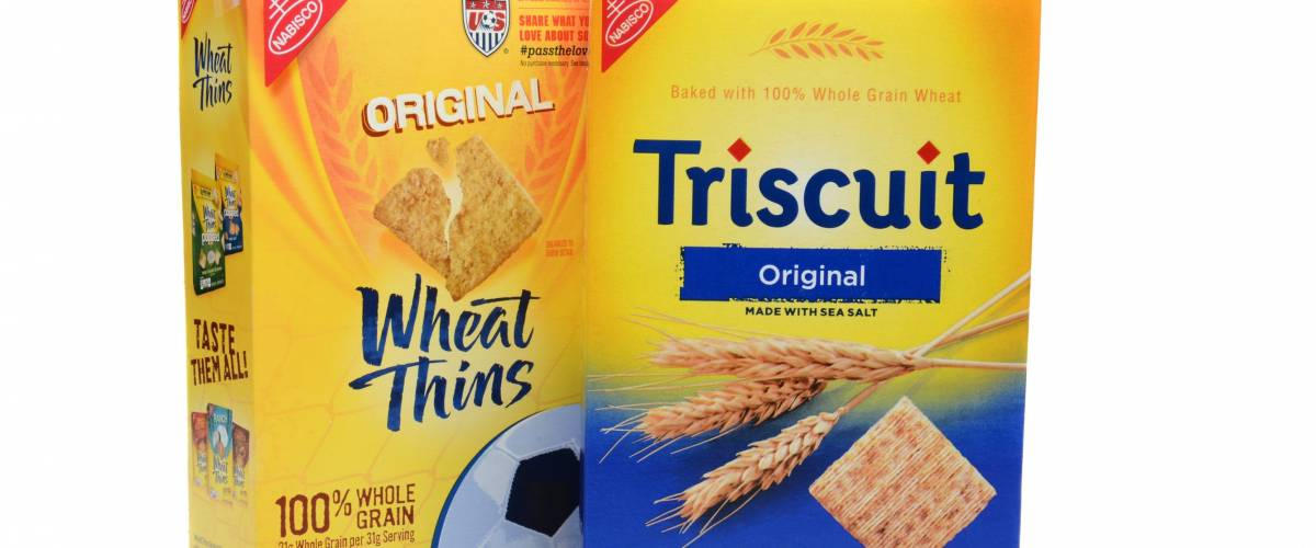 IRVINE, CA - SEPTEMBER 08, 2014: Boxes of Nabisco Wheat Thins and Triscuit Crackers.