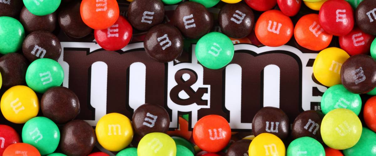 Tambov, Russian Federation - August 26, 2012: M&M's candy on M&M's brand. M&M's  produced by Mars, Incorporated.