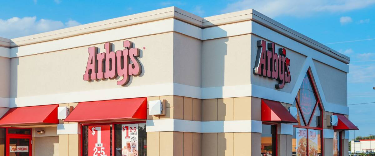 Philadelphia, Pennsylvania - Aug 16, 2017: Exterior of Arbys Restaurant location. Arbys is a chain restaurant that serves quick-service fast-food sandwiches at over 3000 locations.