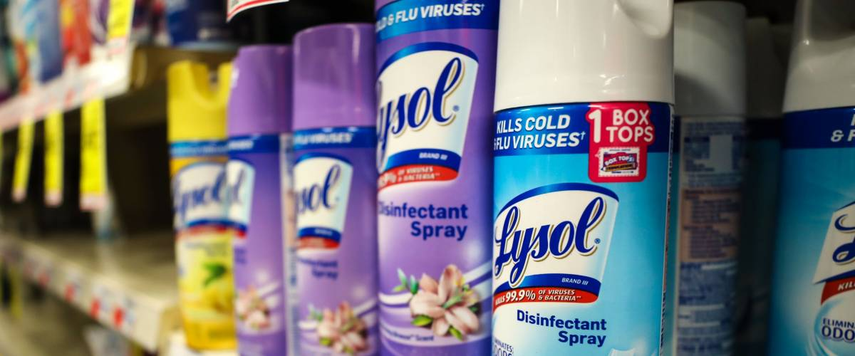 Bethesda, MD - March 4, 2018: A shelf full of Lysol cleaning solution at a CVS.
