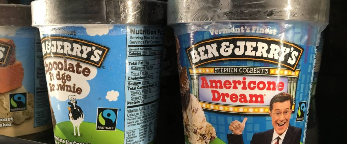 PHOENIX, ARIZONA, JULY 30, 2017: Ben and Jerry's Ice Cream on Grocery Store Shelf