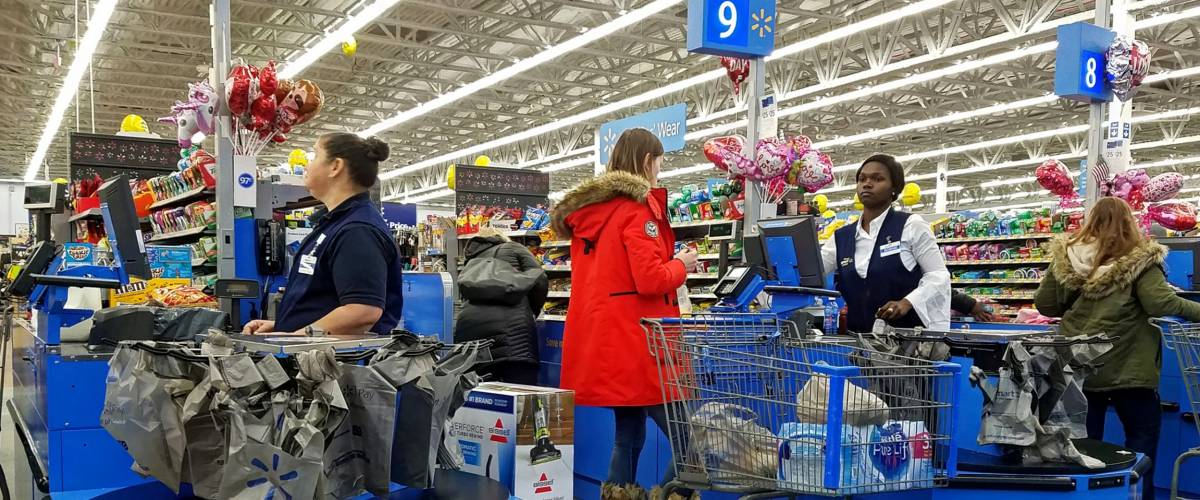 HDR image, Walmart customers check out line, cashier counter - Saugus, Massachusetts USA - February 5, 2018