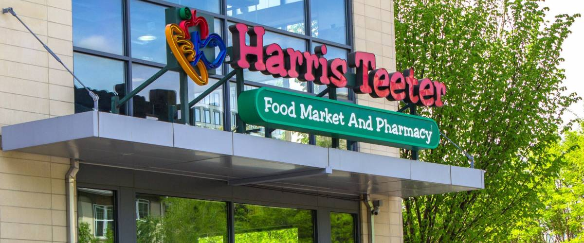 Harris Teeter, a grocery store chain, on a sunny spring day.  This photo was taken at Rockville Maryland on April 23 2017