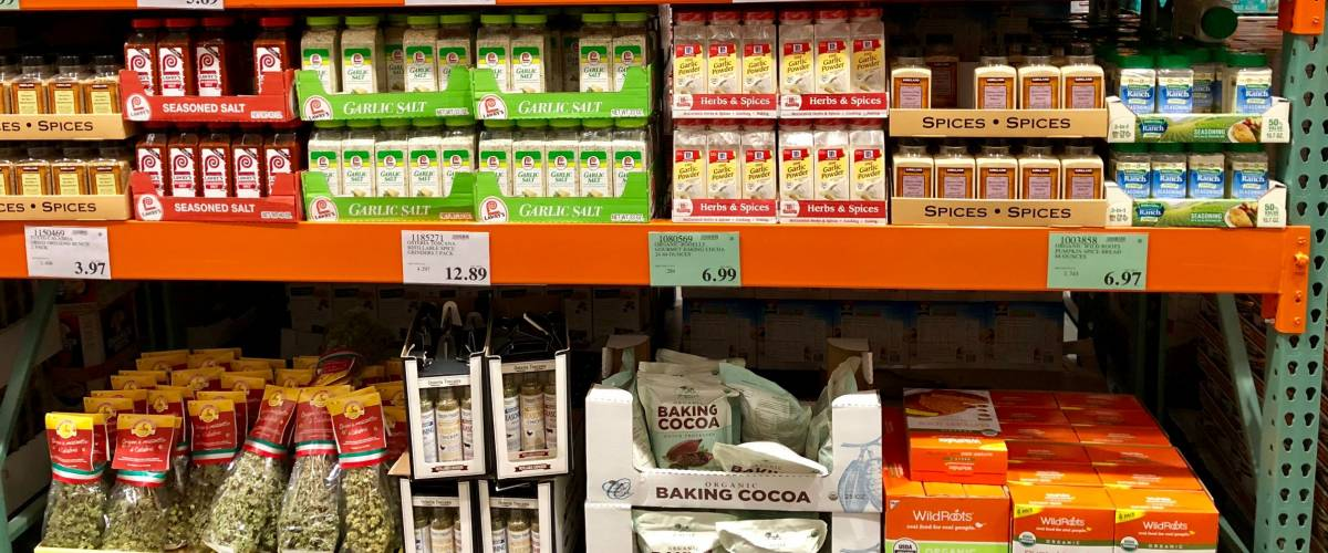FOLSOM, CALIFORNIA, USA - DEC 14, 2017: Costco wholesale warehouse shopping aisle for spices  and seasoning , a members only club.