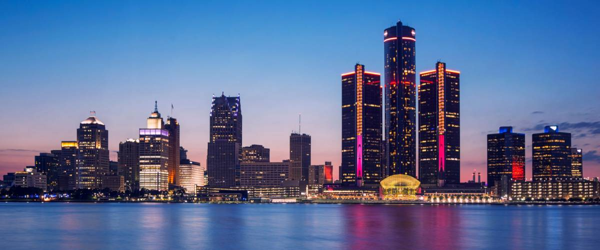 Blue hour of Detroit Skyline from Windsor, Ontario, Canada.