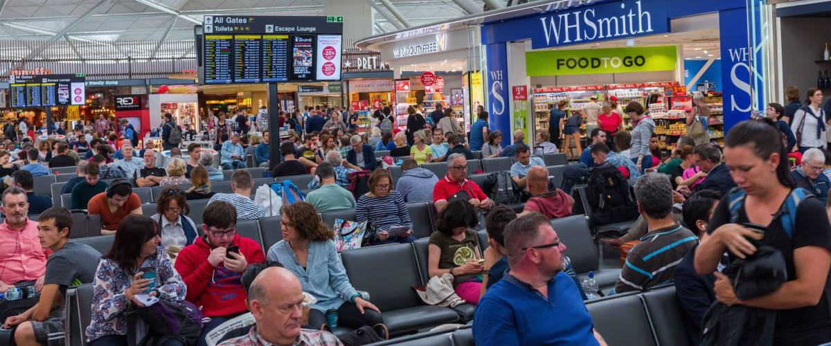Packed departure lounge of London Stansted Airport