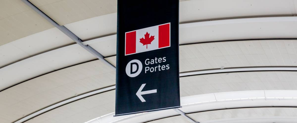 Mississauga, Ontario, Canada - July 29, 2018: Close up sign of Gate D in Toronto Pearson International airport. Pearson Airport is the largest and busiest airport in Canada.