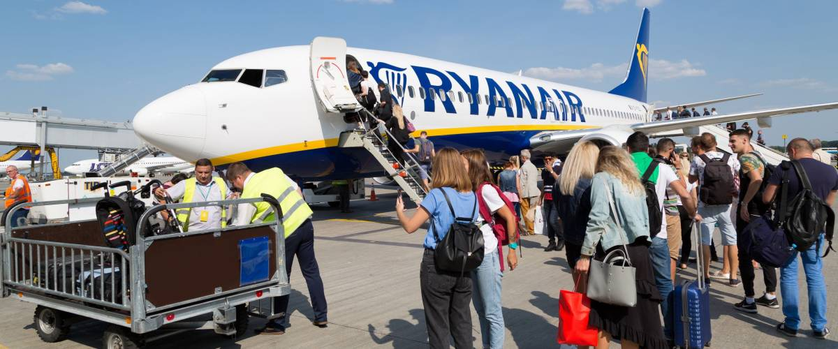 Cramming passengers onto a budget flight at Borospil International Airport, Ukraine