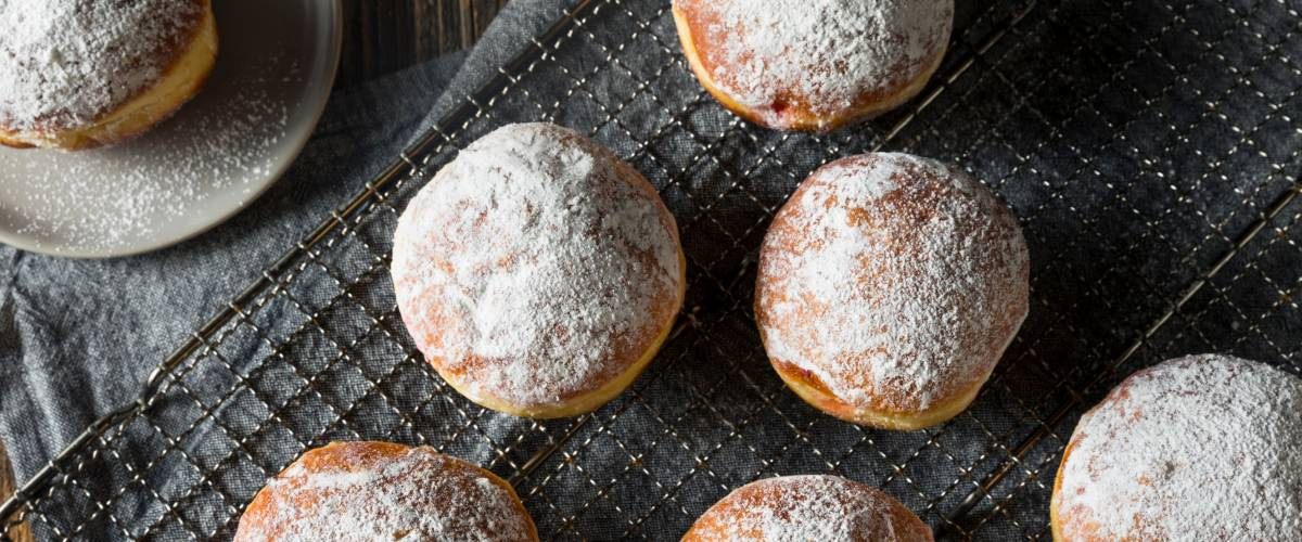 Gourmet Homemade Polish Paczki Donuts with Jelly Filling