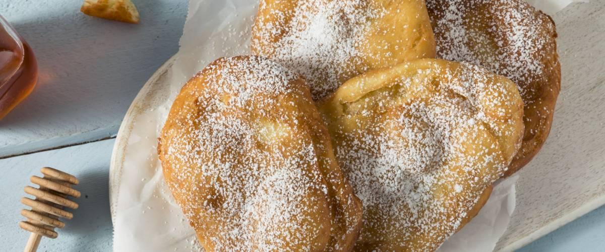 Deep Fried Utah Scones Bread with Sugar and Honey