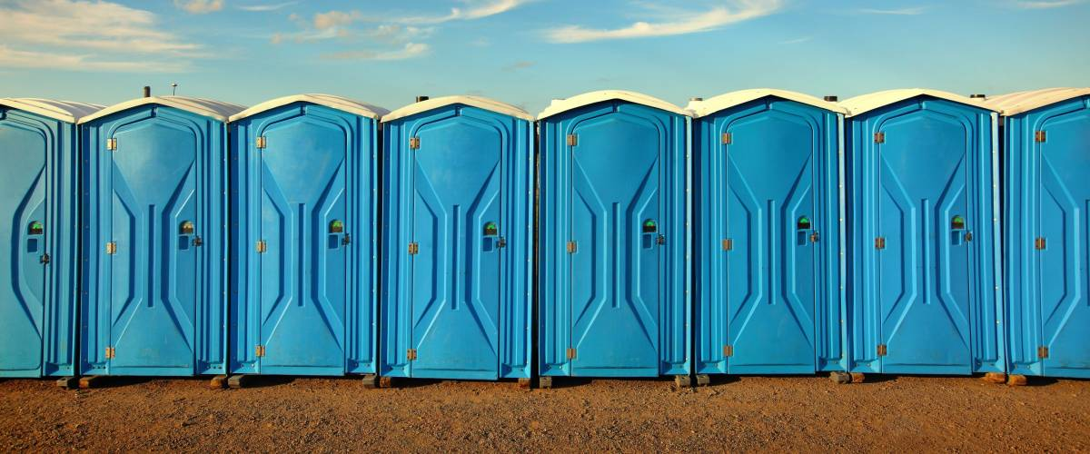 Portable toilets at a festival