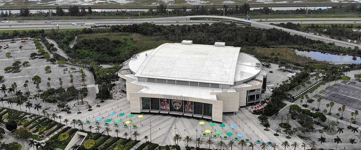 An aerial shot of the BB&T Center in Sunrise, Florida which is also home to the Florida Panthers hockey team.