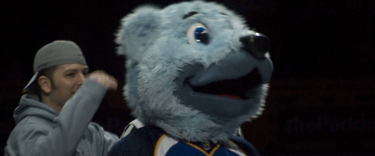 St.Louis Blues mascot Louie, at the arena in St. Louis