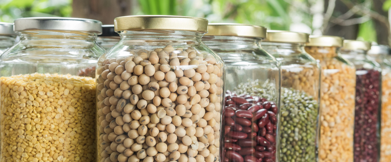 Dried beans in jars