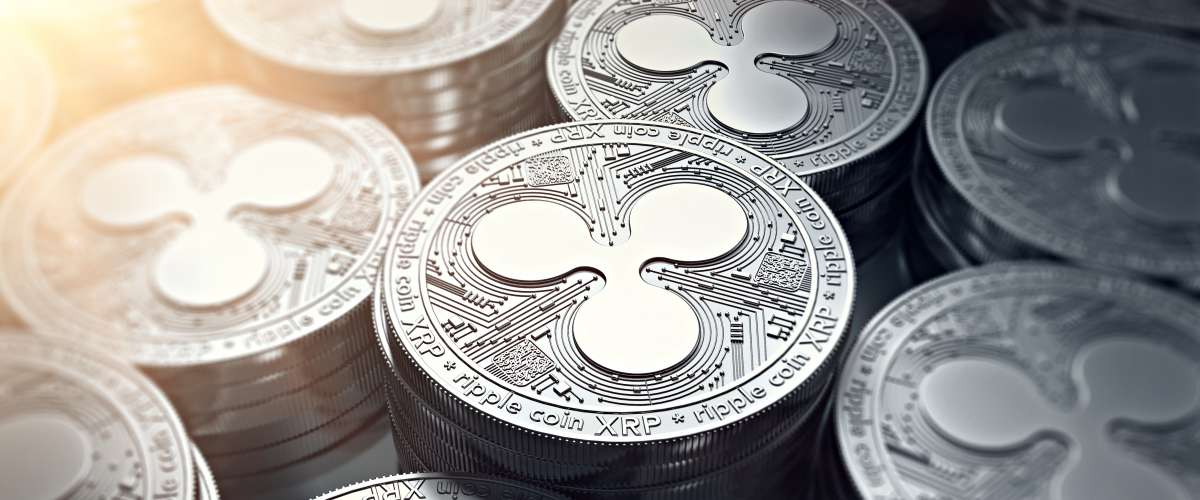 Ripple XRP Coins depicting Ripple XRP cryptocurrency