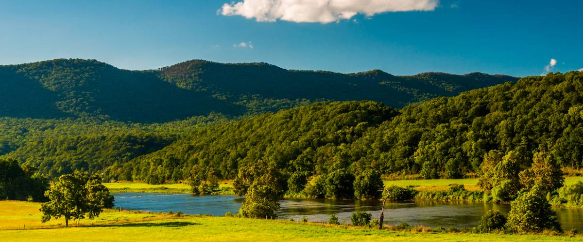 View of the Shenandoah River and Massanutten Mountain, in the Shenandoah Valley