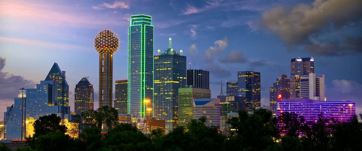 Dallas City skyline at twilight, Texas, USA
