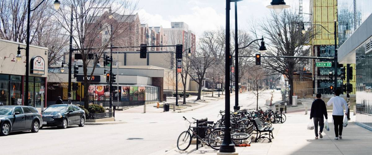 Green Street, Champaign, IllinoisMarch 18, 2019Asian students walk to the corner of Green Street in Campustown of University of Illinois at Urbana-Champaign on Spring Break