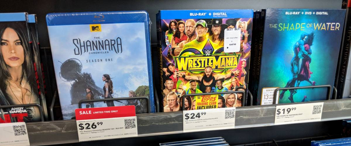 Honolulu - May 29, 2018:  Rows of Blu-Ray on display at Best Buy featuring movies Shannara, WrestleMania, The Shape of Water, Proud Mary, and Molly's Game.