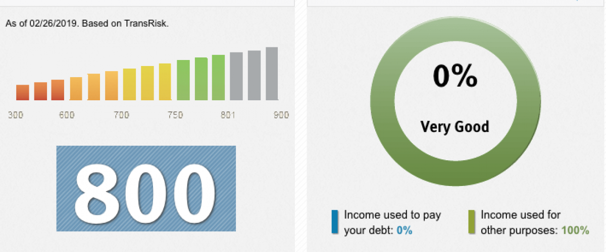 A TransUnion credit score report