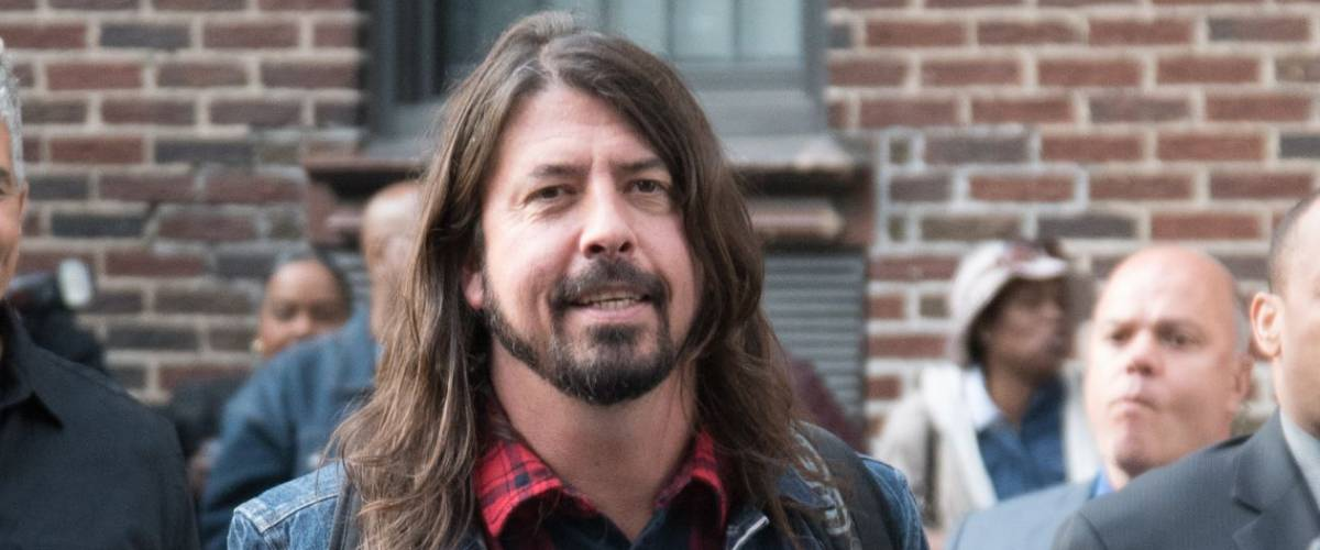 New York, NY / USA - May 20, 2015: David Grohl and Pat Smear of Foo Fighters leaving the Ed Sullivan Theater after their performance on the final episode of Late Night With David Letterman.