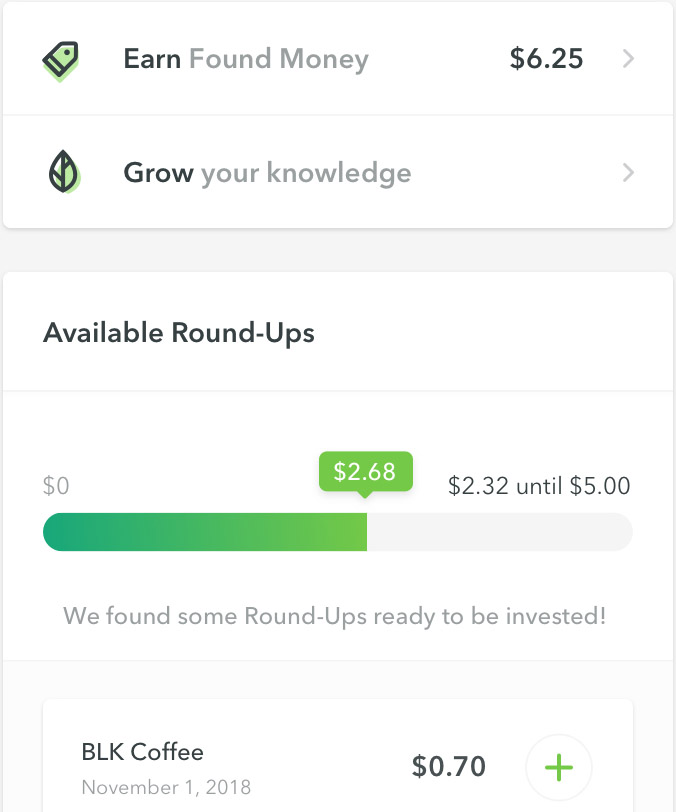 Demo of the Acorns roundups app