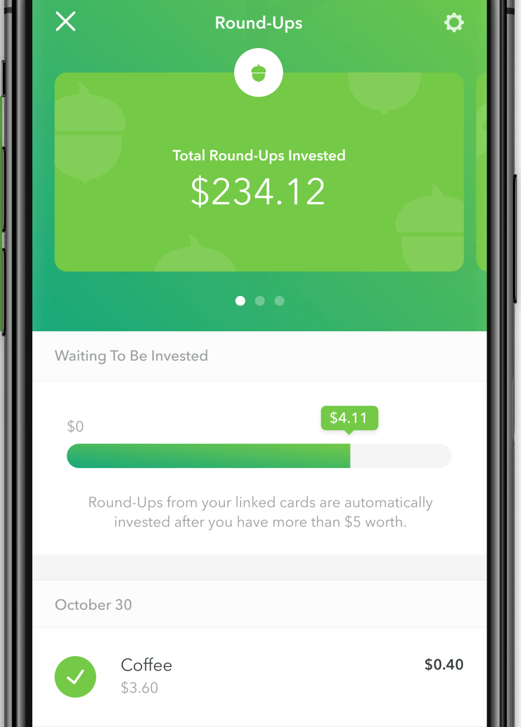 A view of the Acorns app showing roundups