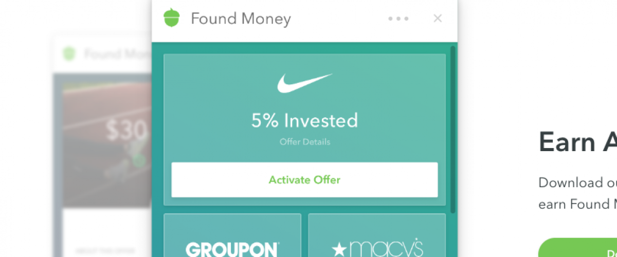 Demonstration of how Found Money by Acorns looks in the app.