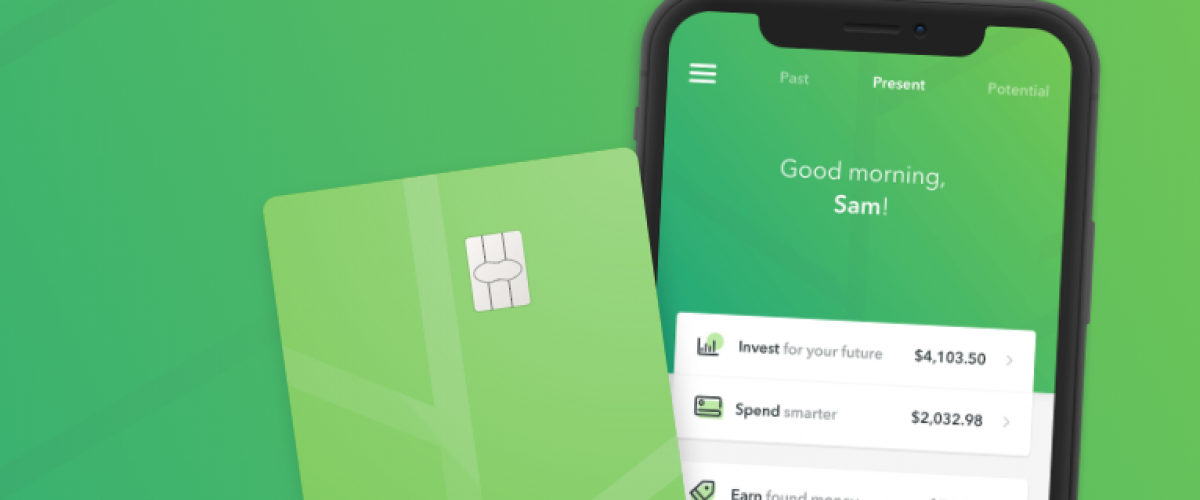 Concept of Acorns app and Acorns debit card.