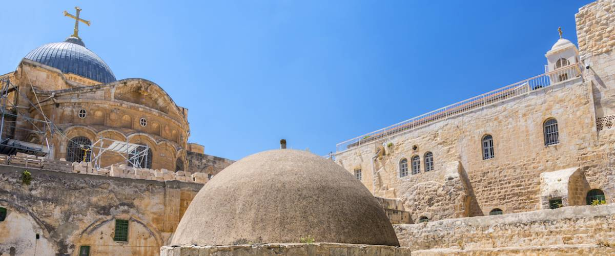 The cupola in the middle of the roof of the Church of Holy Sepulchre, admits light to St Helena's crypt and dome Ethiopian Monastery in Jerusalem, Israel.