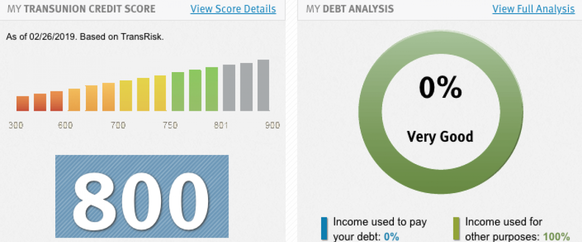 A TransUnion credit report and score.
