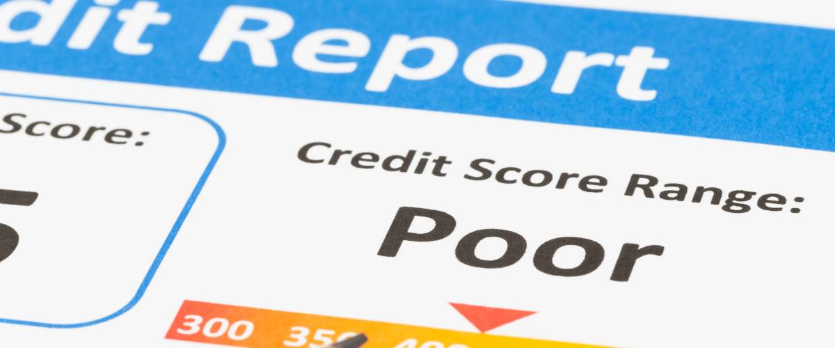 Credit report indicating the consumer has a poor credit score