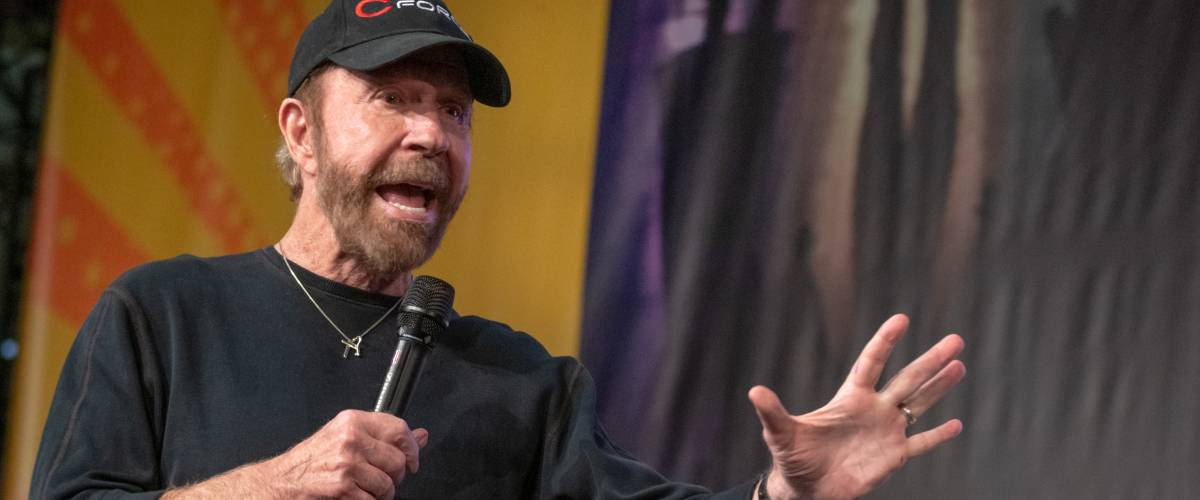 DORTMUND, GERMANY - December 1st 2018: Chuck Norris (1940, American martial artist, actor, film producer and screenwriter) at German Comic Con Dortmund, a two day fan convention