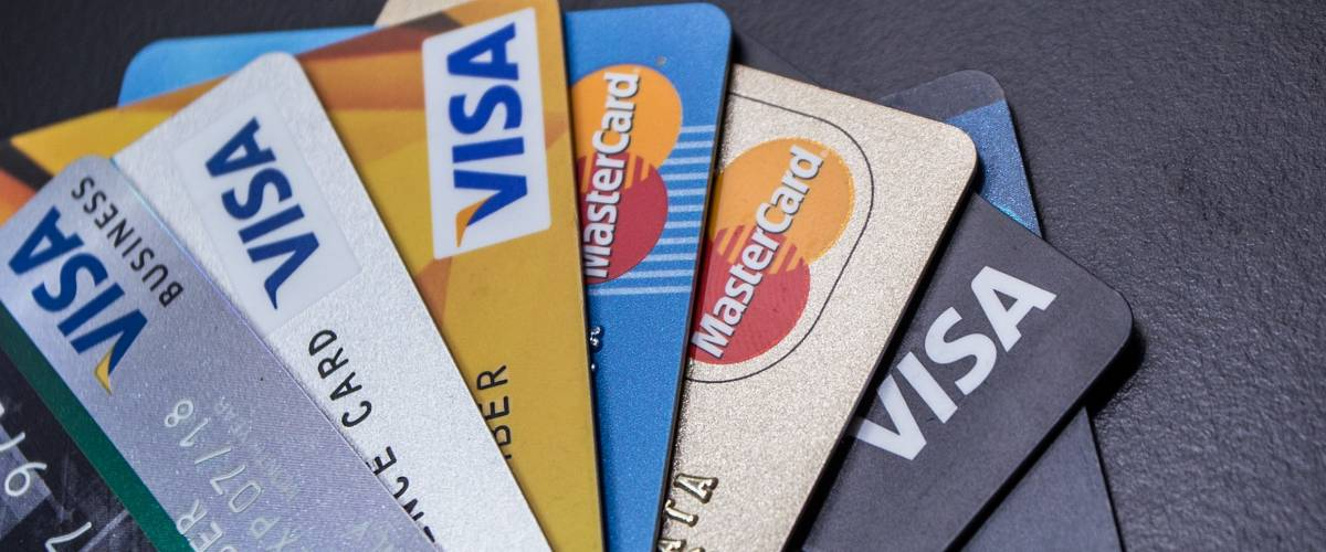 Credit Cards fanned out, Visas, Master Cards
