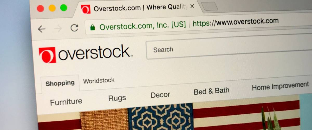 Amsterdam, the Netherlands - August 28, 2018: Website of Overstock.com. Overstock is an American internet retailer of home goods.