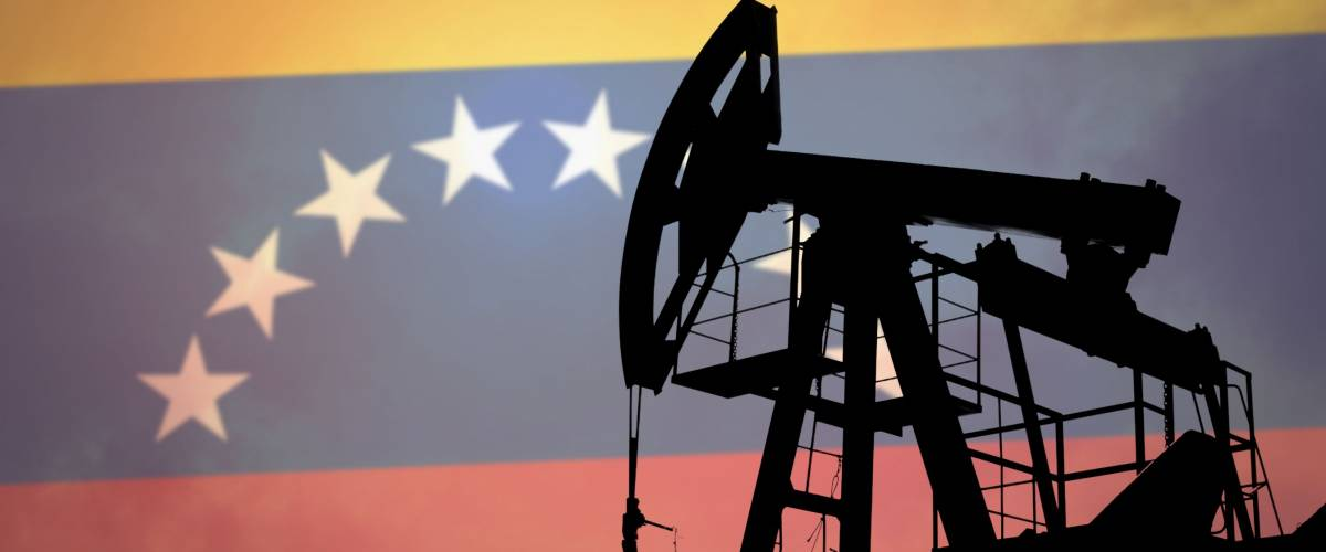 Oil pump on background of flag of Venezuela