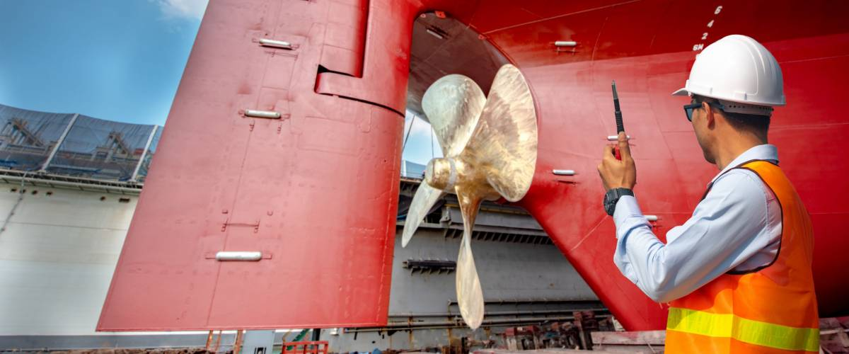 supervisor, foreman, inspector, surveyor takes final inspection of the cleaning, repairing, recondition of over hull a ship